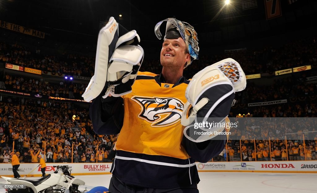 Goalie Pekka Rinne #35 of the Nashville Predators skates onto the ice as the first star of the game after a 4-1 victory in Game Four of the Western Conference First Round against the Chicago Blackhawks during the 2017 NHL Stanley Cup Playoffs at Bridgestone Arena on April 20, 2017 in Nashville, Tennessee.