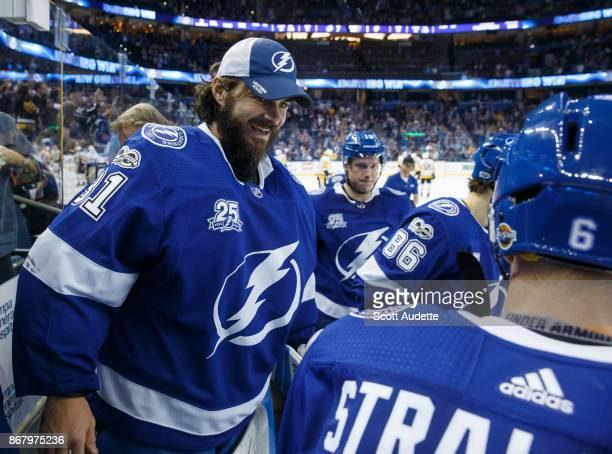 Goalie Peter Budaj of the Tampa Bay Lightning celebrates the win against the Pittsburgh Penguins at Amalie Arena on October 21 2017 in Tampa Florida...