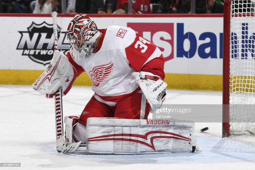 Goalie Petr Mrazek #34 of the Detroit Red Wings guards the net in the third period against the Chicago Blackhawks at the United Center on January 14, 2018 in Chicago, Illinois. The Detroit Red Wings defeated the Chicago Blackhawks 4-0.