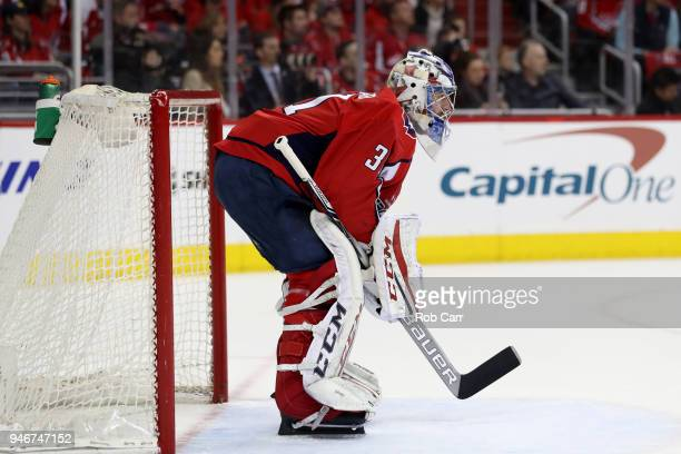 Goalie Philipp Grubauer of the Washington Capitals follows the puck against the Columbus Blue Jackets during Game Two of the Eastern Conference First...