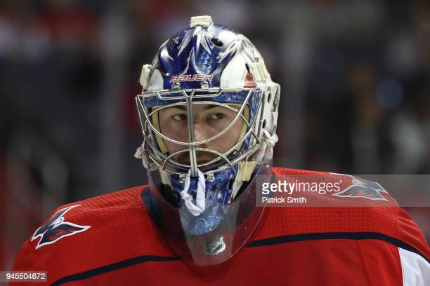 Goalie Philipp Grubauer of the Washington Capitals looks on against the Columbus Blue Jackets in the first period in Game One of the Eastern...