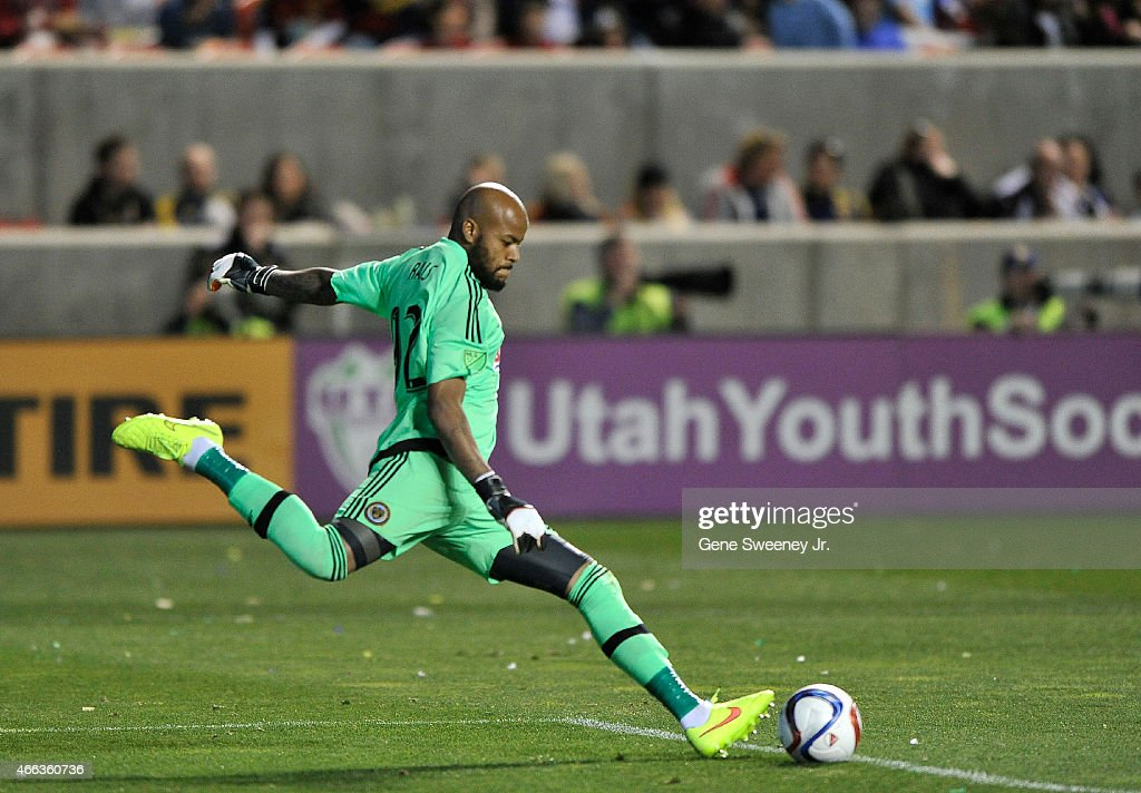 Goalie Rais Mbolhi #92 of the Philadelphia Union kicks the ball during the second half of their game against the Real Salt Lake at Rio Tinto Stadium on March 14, 2015 in Sandy, Utah. The game ended in a 3-3 tie.