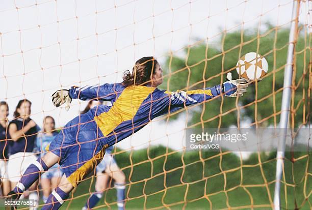 Goalie Reaching for the Ball