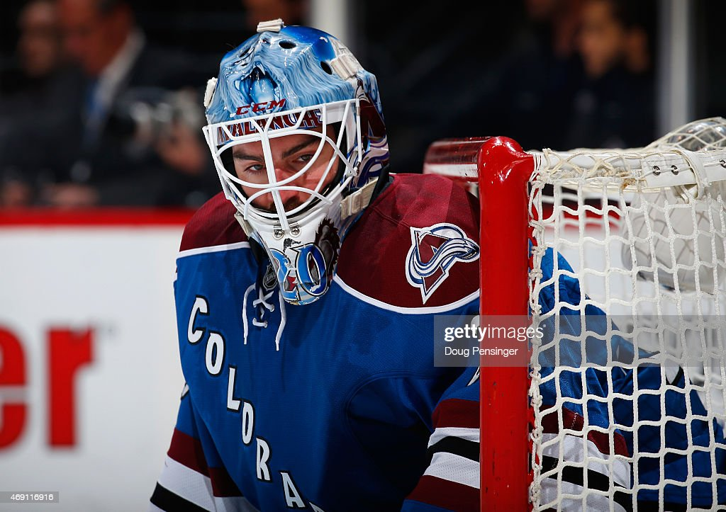 Goalie Reto Berra #20 of the Colorado Avalanche defends the goal against the Winnipeg Jets at Pepsi Center on April 9, 2015 in Denver, Colorado. Berra had 41 saves in a shutout as the Avalanche defeated the Jets 1-0 in an overtime shootout.
