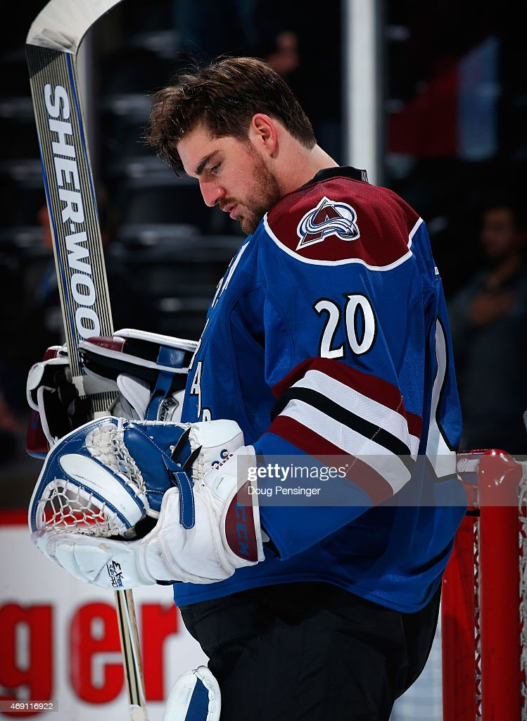 Goalie Reto Berra #20 of the Colorado Avalanche prepares to face the Winnipeg Jets at Pepsi Center on April 9, 2015 in Denver, Colorado. Berra had 41 saves in a shutout as the Avalanche defeated the Jets 1-0 in an overtime shootout.