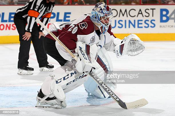 Goalie Reto Berra of the Colorado Avalanche tends the net in the second period against the Philadelphia Flyers at Wells Fargo Center on November 10...