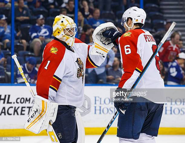 Goalie Roberto Luongo and Alex Petrovic of the Florida Panthers celebrate the win against the Tampa Bay Lightning at the Amalie Arena on March 26...