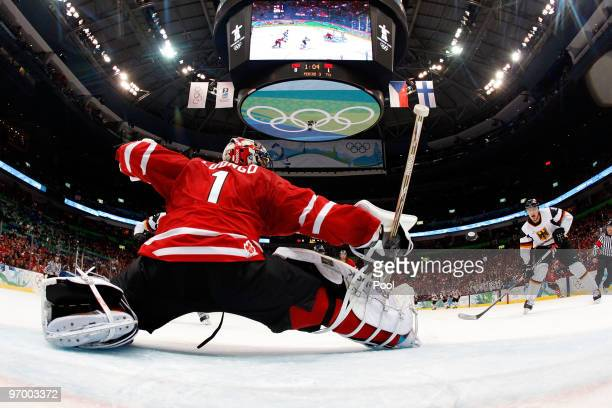 Goalie Roberto Luongo of Canada tends goal during the ice hockey Men's Qualification Playoff game between Germany and Canada on day 12 of the...