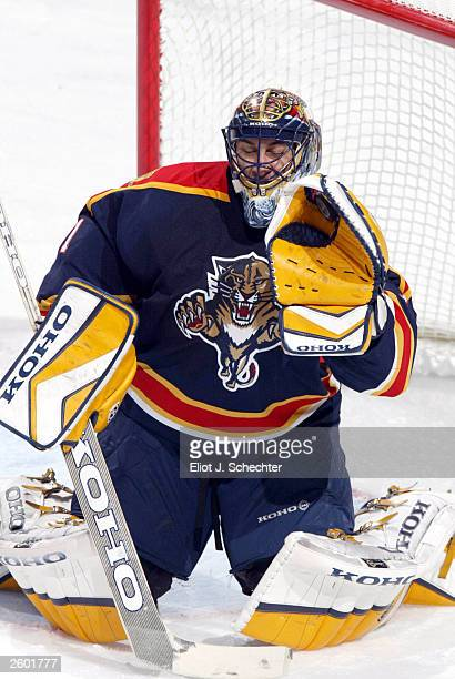 Goalie Roberto Luongo of the Florida Panthers makes a glove save against the Phoenix Coyotes in NHL action on October 15 2003 at the Office Depot...