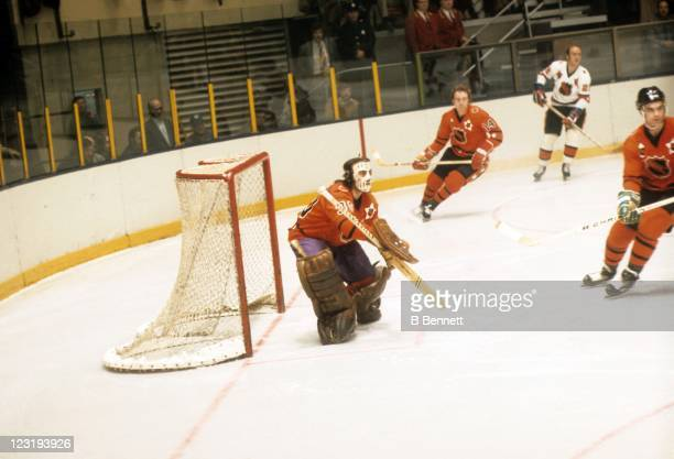 Goalie Rogie Vachon of the Los Angeles Kings and Team West defends the net during the 26th NHL AllStar Game against Team East on January 30 1973 at...