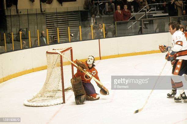 Goalie Rogie Vachon of the Los Angeles Kings and Team West makes the save during the 26th NHL AllStar Game against Team East on January 30 1973 at...