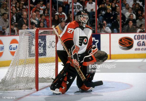 Goalie Ron Hextall of the Philadelphia Flyers defends the net during an NHL game in March 1998 at the CoreStates Center in Philadelphia Pennsylvania