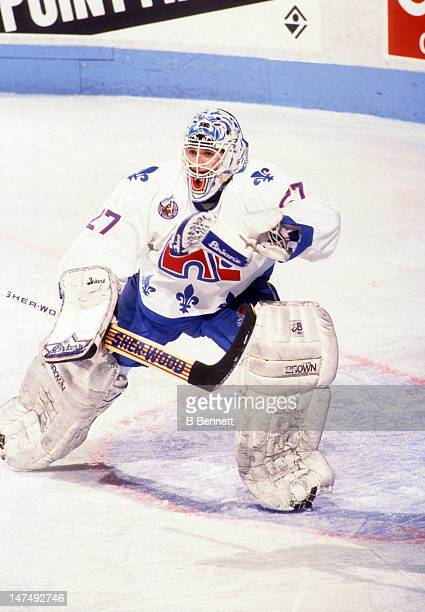 Goalie Ron Hextall of the Quebec Nordiques defends the net during an NHL game circa 1993 at the Quebec Coliseum in Quebec City Quebec Canada