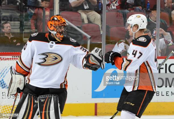 Goalie Ryan Miller of the Anaheim Ducks is congratulated by teammate Hampus Lindholm after a 30 shutout victory against the Arizona Coyotes at Gila...