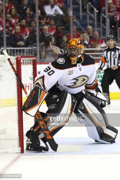 Goalie Ryan Miller of the Anaheim Ducks tends the net against the Washington Capitals during the second period at Capital One Arena on December 02...