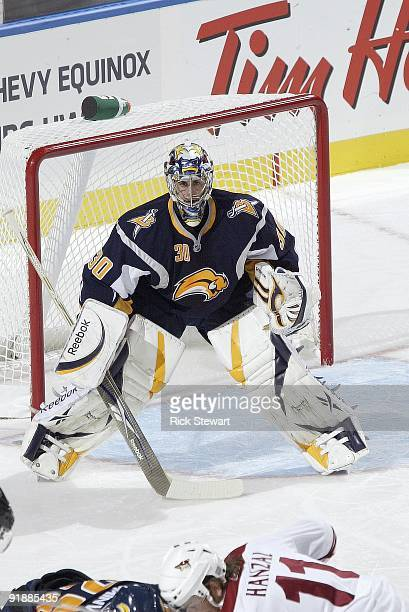 Goalie Ryan Miller of the Buffalo Sabres guards the net against the Phoenix Coyotes at HSBC Arena on October 8 2009 in Buffalo New York