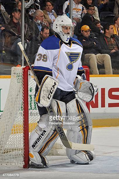 Goalie Ryan Miller of the St Louis Blues skates against the Nashville Predators at Bridgestone Arena on March 6 2014 in Nashville Tennessee