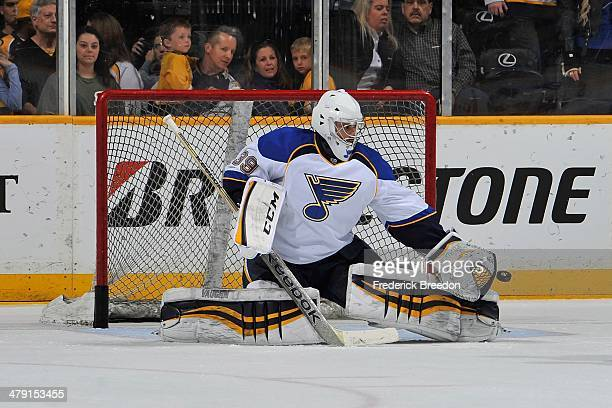 Goalie Ryan Miller of the St Louis Blues skates during warm ups prior to a game against the Nashville Predators at Bridgestone Arena on March 15 2014...