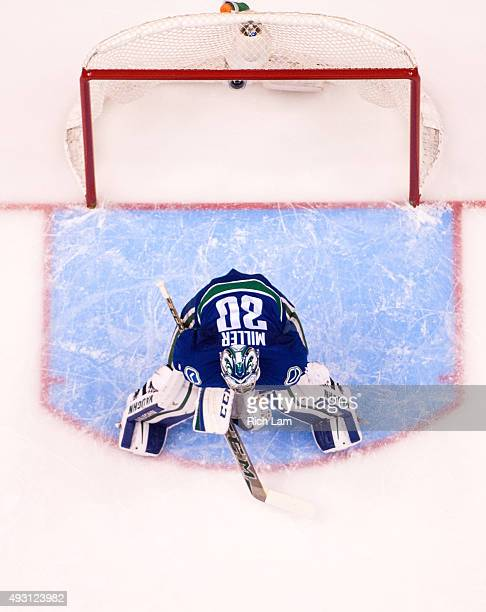Goalie Ryan Miller of the Vancouver Canucks during NHL action against the Calgary Flames on October 10 2015 at Rogers Arena in Vancouver British...