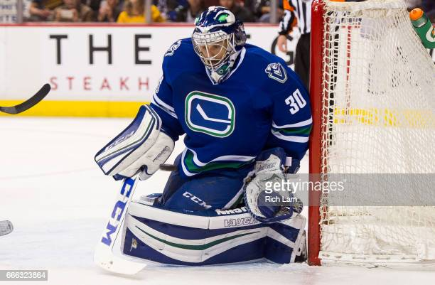 Goalie Ryan Miller of the Vancouver Canucks makes a save against the Edmonton Oilers in NHL action on April 8 2017 at Rogers Arena in Vancouver...