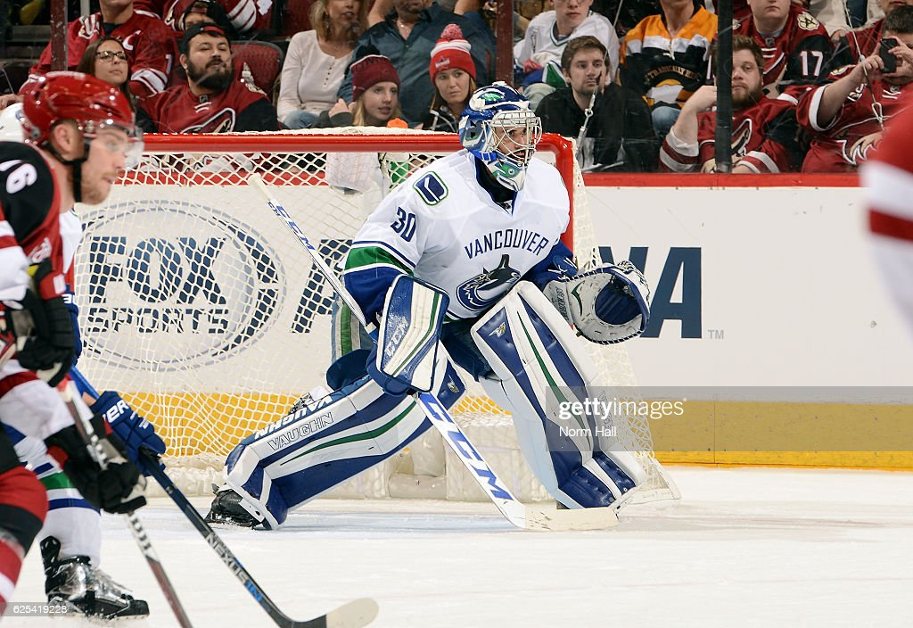 Goalie Ryan Miller #30 of the Vancouver Canucks positions himself in goal during third period action against the Arizona Coyotes at Gila River Arena on November 23, 2016 in Glendale, Arizona.
