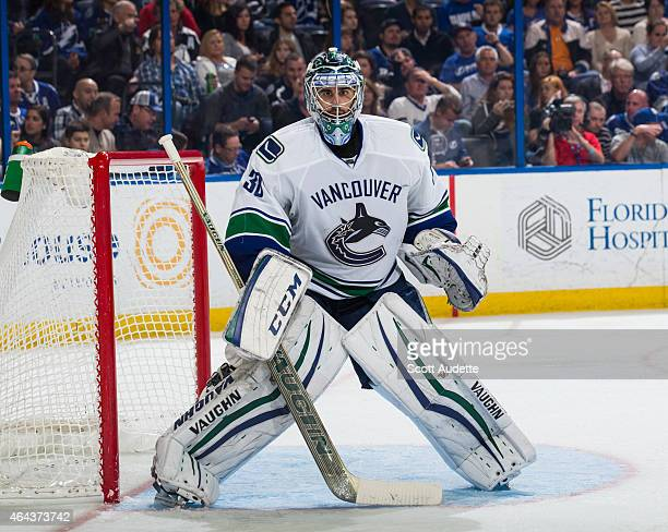Goalie Ryan Miller of the Vancouver Canucks skates against the Tampa Bay Lightning at the Amalie Arena on January 20 2015 in Tampa Florida