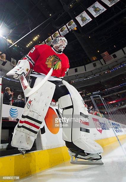 Goalie Scott Darling of the Chicago Blackhawks steps out to the ice prior to the NHL game against the St Louis Blues at the United Center on December...