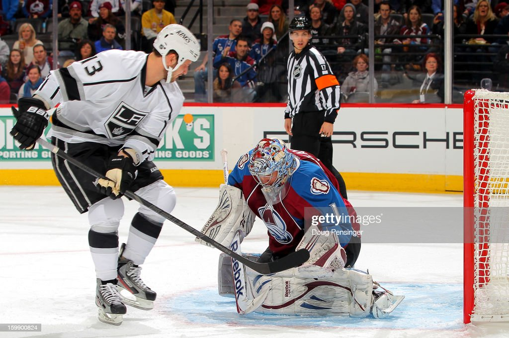 Goalie Semyon Varlamov #1 of the Colorado Avalanche makes a save on a shot by Kyle Clifford #13 of the Los Angeles Kings at the Pepsi Center on January 22, 2013 in Denver, Colorado.