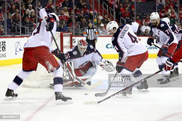 Goalie Sergei Bobrovsky of the Columbus Blue Jackets blocks a second period shot from the Washington Capitals at Capital One Arena on December 2 2017...