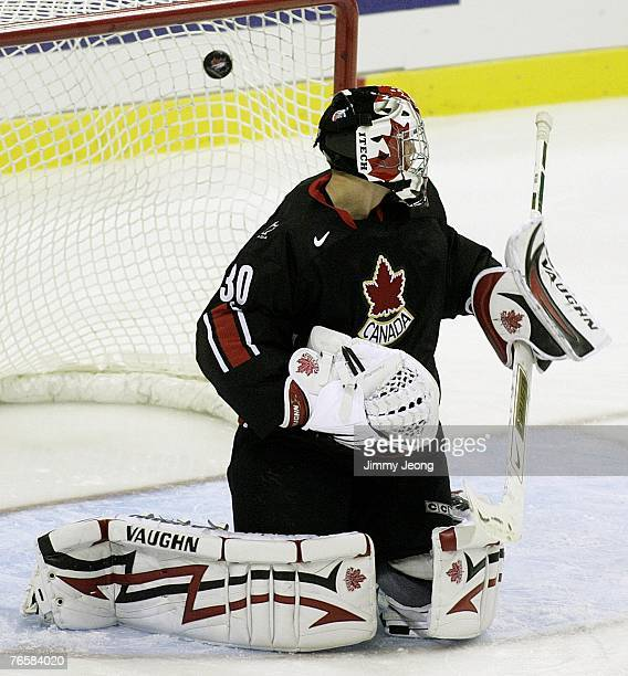 Goalie Steve Mason of Canada watches the goal by Russia's Maxim Mamin in the first period during game seven of the Hockey Super Series on September 7...