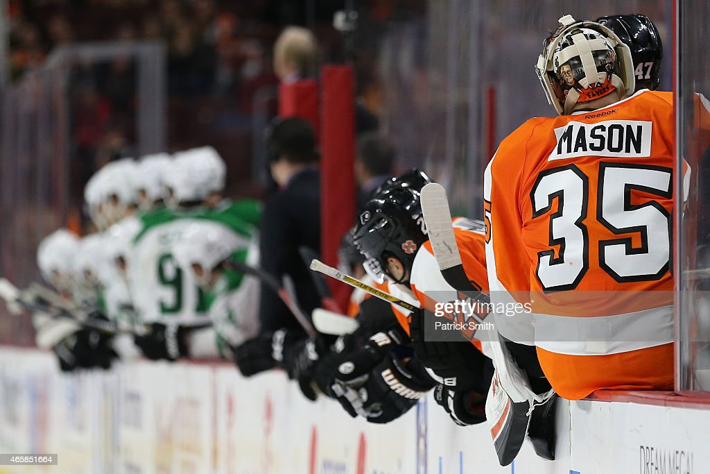 Goalie Steve Mason #35 of the Philadelphia Flyers in action against the Dallas Stars at Wells Fargo Center on March 10, 2015 in Philadelphia, Pennsylvania.