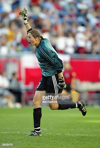 Goalie Taryn Swiatek of Canada celebrates a goal against Japan during the FIFA Women's World Cup Group C match at Gillette Stadium on September 27...