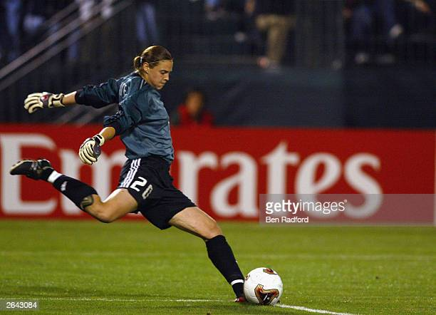 Goalie Taryn Swiatek of Canada kicks the ball against China during quarterfinals of the FIFA Women's World Cup match at PGE Park on October 2 2003 in...