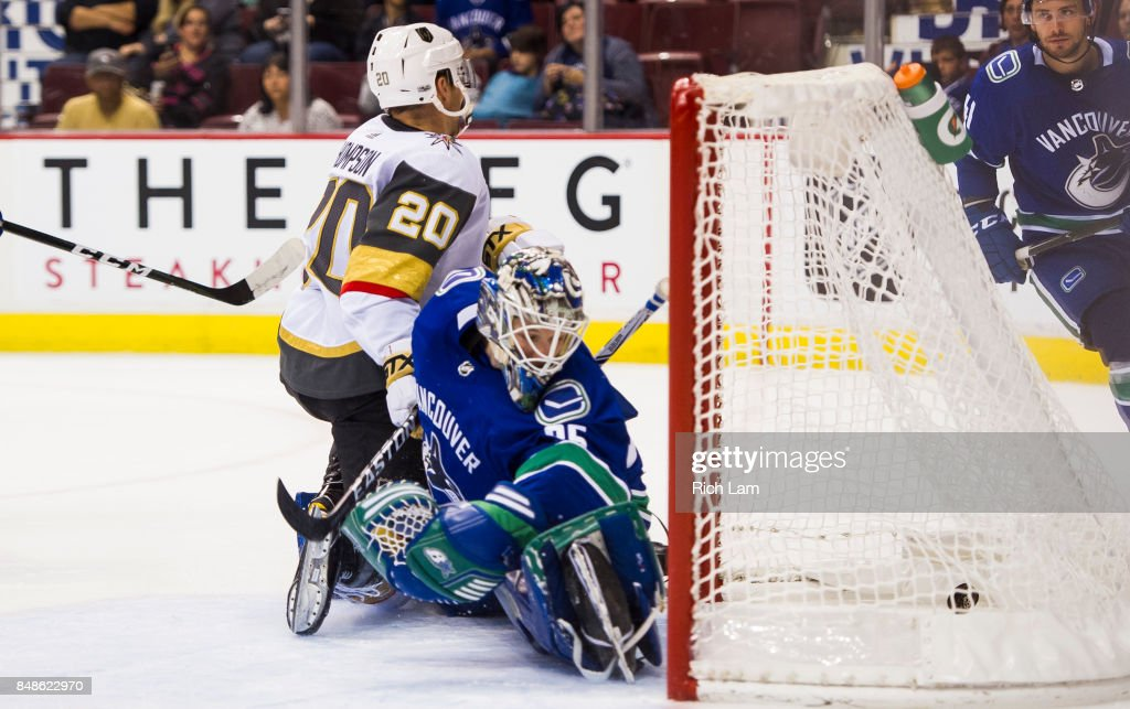 Goalie Thatcher Demko #35 of the Vancouver Canucks looks back into the net and see the puck Paul Thompson of the Vegas Golden Knights tapped in for a goal in NHL pre-season action on September 17, 2017 at Rogers Arena in Vancouver, British Columbia, Canada.