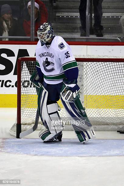 Goalie Thatcher Demko of the Vancouver Canucks warms up on the ice before the start of their game against the Washington Capitals at Verizon Center...