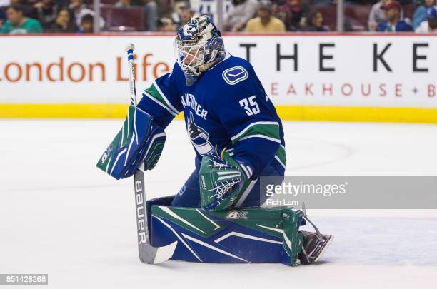 Goalie Thatcher Demkoof the Vancouver Canucks make a save against the Vegas Golden Knights in NHL preseason action on September 17 2017 at Rogers...