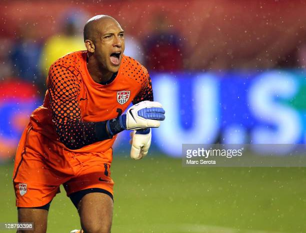 Goalie Tim Howard of the USA defends the goal against Honduras at Sun Life Stadium on October 8 2011 in Miami Gardens Florida