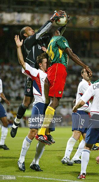 Goalie Tim Howard of USA collects a cross during the Confederations Cup Group B match between USA and Cameroon at the Stade Gerland on June 23, 2003...