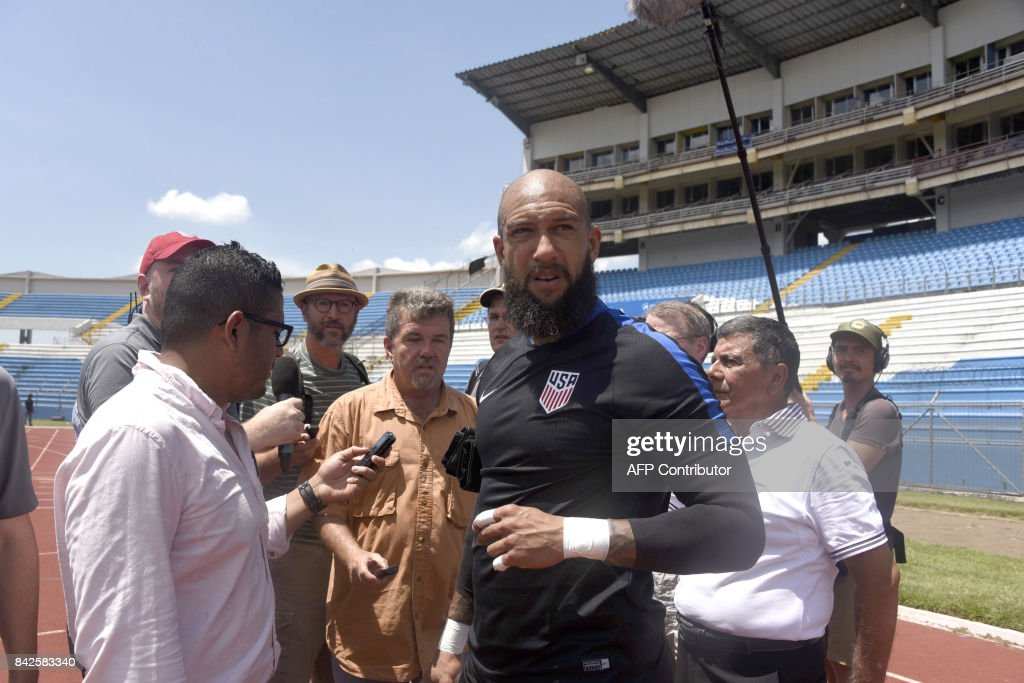 US goalie Tim Howard speaks with journalists before a training ahead of their Concacaf WC Russis 2018 match against Honduras on Tuesday, in San Pedro Sula, 240 km north of Tegucigalpa, on September 4, 2017. /
