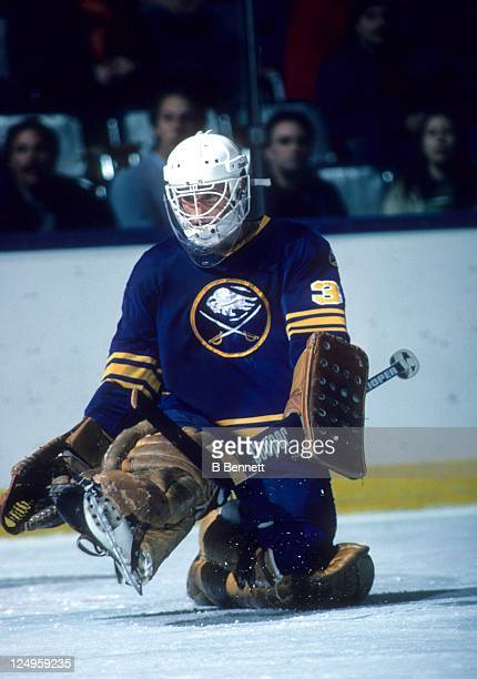 Goalie Tom Barrasso of the Buffalo Sabres makes the kick save during an NHL game circa 1984