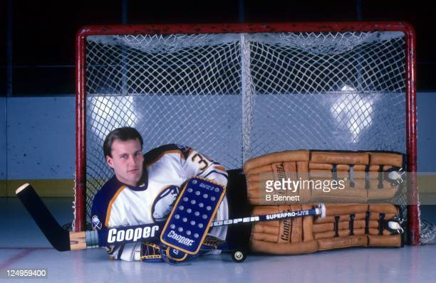 Goalie Tom Barrasso of the Buffalo Sabres poses for a portrait in October 1984 at the Buffalo Memorial Auditorium in Buffalo New York