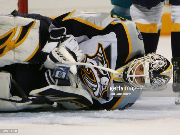 Goalie Tomas Vokun of the Nashville Predators makes a save against the San Jose Sharks during Game 4 of the 2007 Western Conference Quarterfinals on...