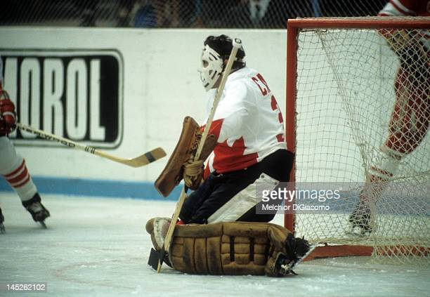 Goalie Tony Esposito of Canada defends the net during the 1972 Summit Series against the Soviet Union in September 1972 at the Luzhniki Ice Palace in...