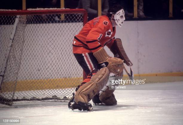 Goalie Tony Esposito of the Chicago Blackhawks and Team West defends the net during the 26th NHL AllStar Game against Team East on January 30 1973 at...