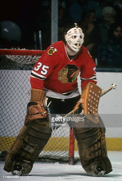 Goalie Tony Esposito of the Chicago Blackhawks defends the net during an NHL game circa 1979