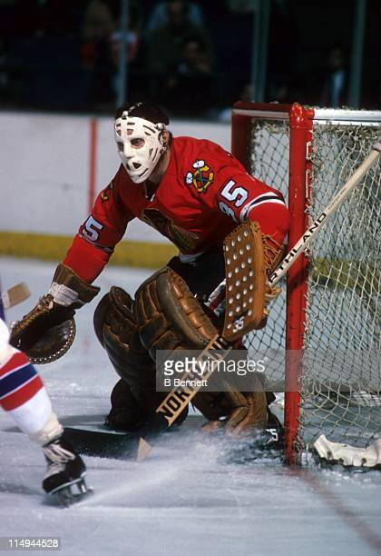Goalie Tony Esposito of the Chicago Blackhawks defends the net during an NHL game circa 1978