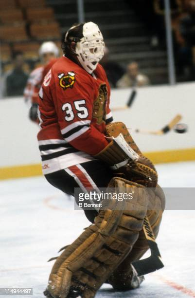 Goalie Tony Esposito of the Chicago Blackhawks makes the save during an NHL game against the Philadelphia Flyers on December 8 1983 at the Spectrum...