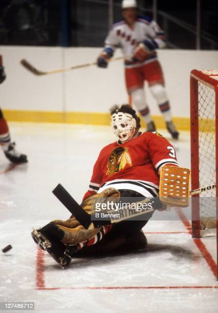Goalie Tony Esposito of the Chicago Blackhawks makes the save during an NHL game against the New York Rangers circa 1978 at the Madison Square Garden...