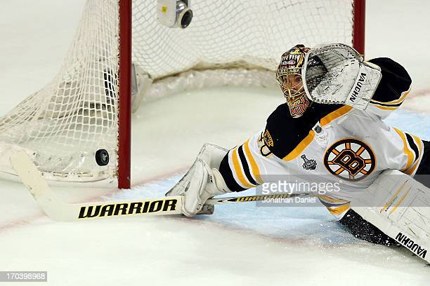 Goalie Tuukka Rask of the Boston Bruins makes a save in the second period against the Chicago Blackhawks in Game One of the 2013 NHL Stanley Cup...