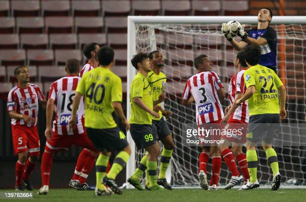 Goalie Vedran Janjetovic of the Melbourne Heart FC collects the ball against Busan I'Park FC during the Hawaiian Islands Soccer Invitational at the...